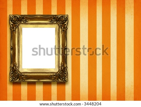 hollow gilded picture frame on retro background