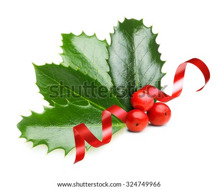 Holly berry leaves  and red ribbon, Christmas decoration isolated on white background #324749966
