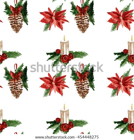 Holly jolly Merry Christmas Seamless pattern #454448275