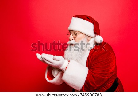Holly jolly x mas festive occasion noel! Christmastime traditions! Santa in headwear, costume, white gloves expresses winter wish, surprise, fantasy, blizzard, snow, snowflakes, air kiss #745900783