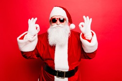 Holly jolly x mas noel! December surprise, travel, trips, party time! Playful cool funny naughty tourist santa grandfather is showing accept signs, fooling around, in trendy specs, so confident