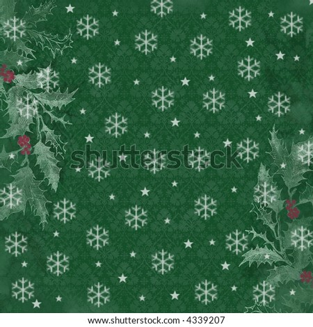 holly sprigs and snowflake background