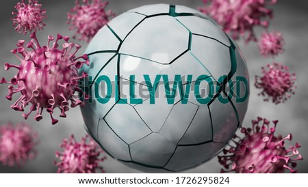 Hollywood and Covid-19 virus, symbolized by viruses destroying word Hollywood to picture that coronavirus outbreak destroys Hollywood, blurred background, 3d illustration