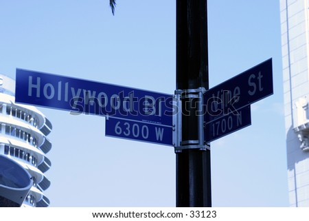 Hollywood and Vine street sign. Some of the most  famous real estate in the world.