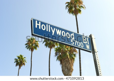 Hollywood Boulevard sign with palm trees #471092813
