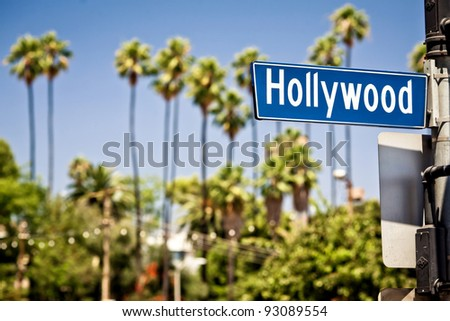 Photo of  Hollywood boulevard sign, with palm trees in the background
