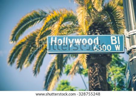 hollywood boulevard street sign