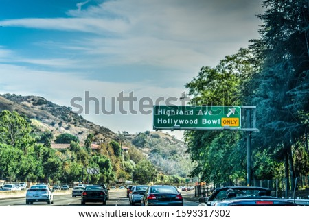 Hollywood Bowl exit sign in Pacific Coast Highway southbound. Southern Calfornia, USA stock photo