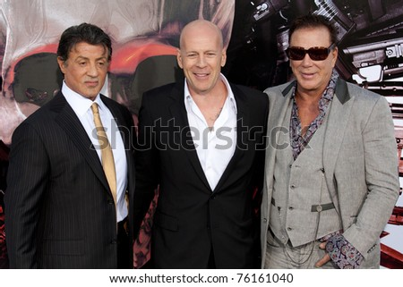 HOLLYWOOD, CA. - AUG 3: (L-R) Actors Sylvester Stallone, Bruce Willis and Mickey Rourke arrives at The Expendables Los Angeles premiere at Grauman's Chinese Theater on August 3, 2010 in Hollywood, Ca.