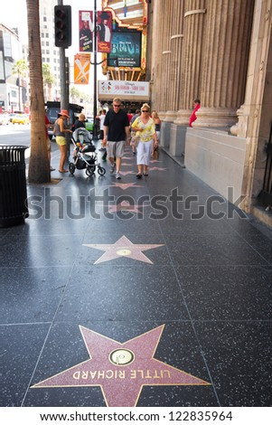 HOLLYWOOD, CA - AUG 11: Stars on the Hollywood Walk of Fame on Hollywood Blvd in Los Angeles, CA on Aug. 11, 2012. 2400 stars pay tribute artists who have made contributions in entertainment.