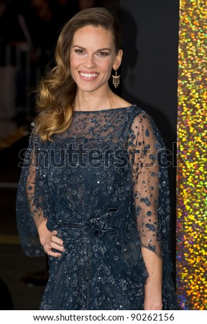 "HOLLYWOOD, CA - DECEMBER 5: Actress Hillary Swank arrives at the premiere of ""New Year's Eve"" at Grauman's Chinese Theater on December 5, 2011 in Hollywood, California - stock photo"