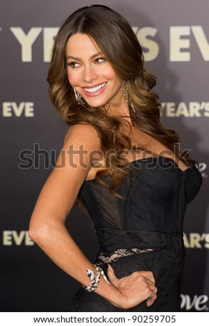 "HOLLYWOOD, CA - DECEMBER 5: Actress Sofia Vergara arrives at the premiere of ""New Year's Eve"" at Grauman's Chinese Theater on December 5, 2011 in Hollywood, California"