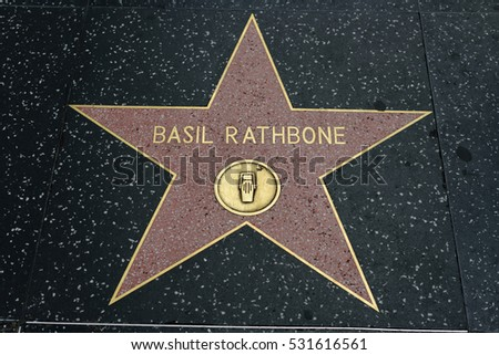HOLLYWOOD, CA - DECEMBER 06: Basil Rathbone star on the Hollywood Walk of Fame in Hollywood, California on Dec. 6, 2016.