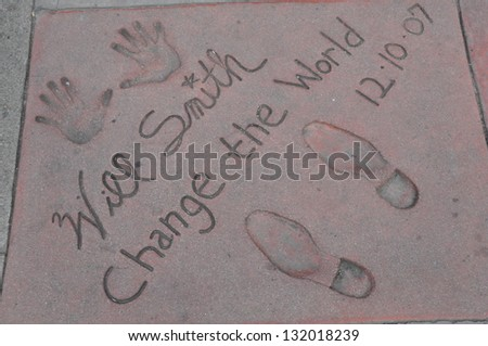 HOLLYWOOD, CA - DECEMBER 7 : Footprints and hand prints of Will Smith at the Kodak theater pictured on December 7, 2012 in Hollywood, California, USA.