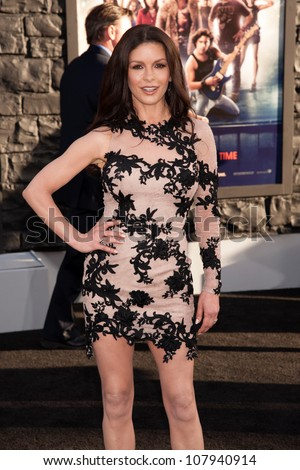 HOLLYWOOD, CA - JUNE 08: Actress Catherine Zeta-Jones arrives at the premiere of Warner Bros. Pictures' 'Rock of Ages' at Grauman's Chinese Theatre on June 8, 2012 in Hollywood, California.