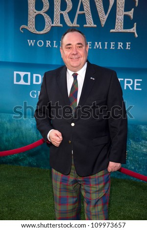 HOLLYWOOD, CA - JUNE 18: Scotland's First Minister Alex Salmond arrives at the Los Angeles Film Festival premiere of 'Brave' at Dolby Theatre on June 18, 2012 in Hollywood, California.