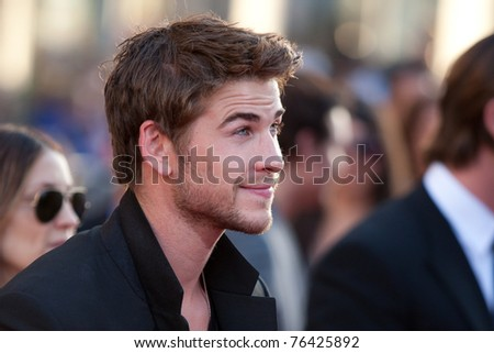 HOLLYWOOD, CA. - MAY 2: Actor Liam Hemsworth arrives at the Los Angeles premiere of Thor at the El Capitan Theatre on May 2, 2011 in Hollywood, California.