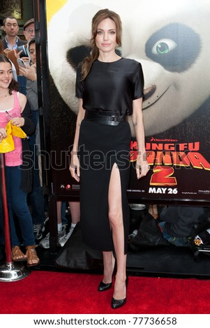 HOLLYWOOD, CA. - MAY 22: Angelina Jolie arrives at the Los Angeles premiere of Kung Fu Panda 2 at Grauman's Chinese Theatre on May 22, 2011 in Hollywood, California.