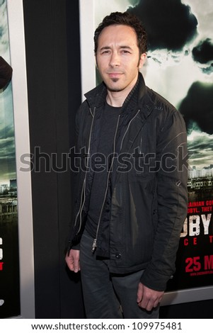 HOLLYWOOD, CA - MAY 23: Diego Stocco arrives at the Special Fan Screening of Chernobyl Diaries at the Cinerama Dome on May 23, 2012 in Hollywood, California.