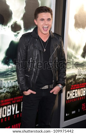 HOLLYWOOD, CA - MAY 23: Jesse McCartney arrives at the Special Fan Screening of Chernobyl Diaries at the Cinerama Dome on May 23, 2012 in Hollywood, California.
