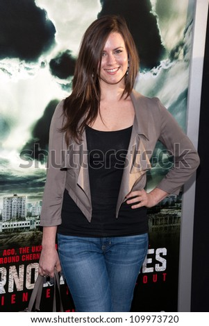 HOLLYWOOD, CA - MAY 23: Katie Featherston arrives at the Special Fan Screening of Chernobyl Diaries at the Cinerama Dome on May 23, 2012 in Hollywood, California.