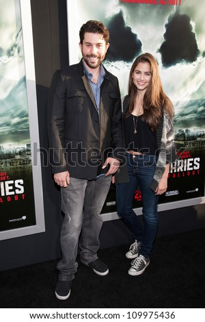 HOLLYWOOD, CA - MAY 23: Micah Sloat and Katie Featherston arrive at the Special Fan Screening of Chernobyl Diaries at the Cinerama Dome on May 23, 2012 in Hollywood, California.