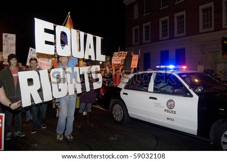 HOLLYWOOD, CA - NOV 8: Protester holds an equal rights sign in protest against prop 8 November 8, 2008 in Hollywood California.