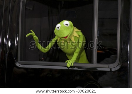 HOLLYWOOD, CA - NOVEMBER 12: Kermit the Frog attends the Premiere Of Walt Disney Pictures' 'The Muppets' at the El Capitan Theatre on November 12, 2011 in Hollywood, California. - stock photo
