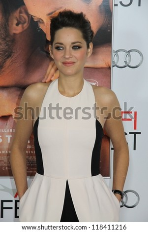 "HOLLYWOOD, CA - NOVEMBER 5, 2012: Marion Cotillard on the red carpet arrival for the premiere of ""Rust and Bone"" at Chinese Theatre on October 5, 2012 in Hollywood, Ca."