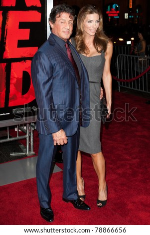 HOLLYWOOD, CA. - OCT 11: Sylvester Stallone (L) & Jennifer Flavin (R) arrive at the Los Angeles special screening of Red at Grauman's Chinese Theatre on Oct. 11, 2010 in Hollywood, California.