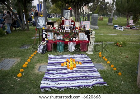 Hollywood, CA October 27th, 2007:  Day of the Dead Festival (Dia de los Muertos) at the Hollywood Forever Cemetary.   Altar display