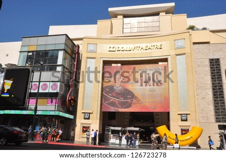 HOLLYWOOD, CALIFORNIA - DECEMBER 7: Dolby Theatre (Kodak Theatre) is home of Academy Awards (popularly known as the Oscars) as seen in Los Angeles (Hollywood) on December 7, 2012. - stock photo