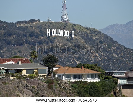 HOLLYWOOD - FEB 2: Hugh Hefner donates money to the Hollywood sign trust to buy and save 138 acres behind the sign from development, on February 2, 2011 in Los Angeles, California. - stock photo