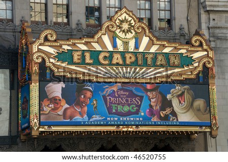 HOLLYWOOD - FEBRUARY 10: El Capitan Theatre, highlighting Disney's and Pixar's movie The Princess and the Frog. It has 5 Academy Award nominations, on February 10, 2010 in Hollywood, California.