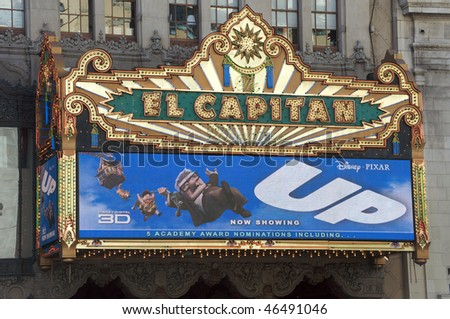 HOLLYWOOD - FEBRUARY 10: Entrance to El Capitan Theatre, highlighting Disney's and Pixar's movie UP. UP has 5 Academy Award nominations, on February 10, 2010 in Hollywood, California.