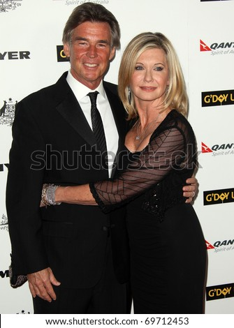 HOLLYWOOD - JAN 22:  Olivia Newton John & husband John arrives at the 2011 G'Day USA Los Angeles Gala on January 22, 2011 in Hollywood, CA