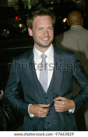 "HOLLYWOOD - JANUARY 25: Patrick J. Adams arrives at the Los Angeles premiere of HBO's drama series ""LUCK"" on January 25, 2012 at Grauma's Chinese Theater in Hollywood, CA."