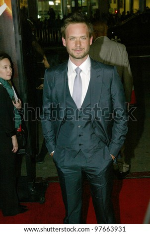 """HOLLYWOOD - JANUARY 25: Patrick J. Adams arrives at the Los Angeles premiere of HBO's drama series """"LUCK"""" on January 25, 2012 at Grauma's Chinese Theater in Hollywood, CA."""