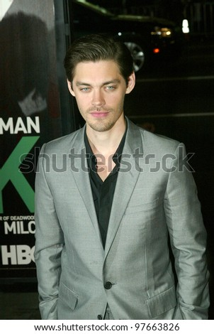 "HOLLYWOOD - JANUARY 25: Tom Payne arrives at the Los Angeles premiere of HBO's drama series ""LUCK"" on January 25, 2012 at Grauma's Chinese Theater in Hollywood, CA."