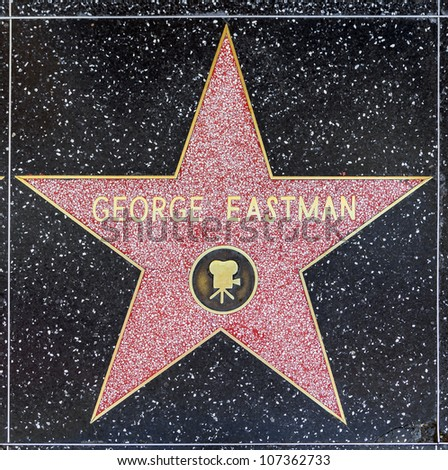 HOLLYWOOD - JUNE 26: George Eastman's star on Hollywood Walk of Fame on June 26, 2012 in Hollywood, California. This star is located on Hollywood Blvd. and is one of 2400 celebrity stars.