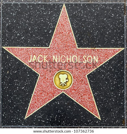 HOLLYWOOD - JUNE 26: Jack Nicholson's star on Hollywood Walk of Fame on June 26, 2012 in Hollywood, California. This star is located on Hollywood Blvd. and is one of 2400 celebrity stars.