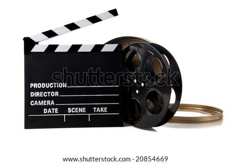 Hollywood movie items including a clapboard and a movie reel and tin on a white background