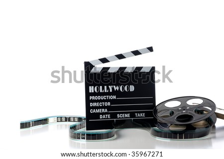 Hollywood movie items on a white background, including a movie clapboard, film reel, film containers or tins and film
