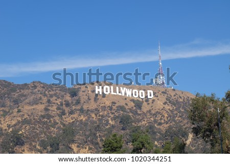 hollywood sign at los angeles with blue sky and sun shine #1020344251