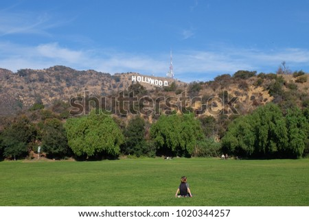 hollywood sign at los angeles with blue sky and sun shine #1020344257