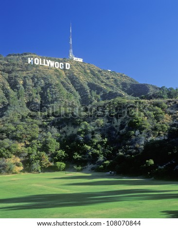 Hollywood sign on the hillsides of Hollywood, Los Angeles, California