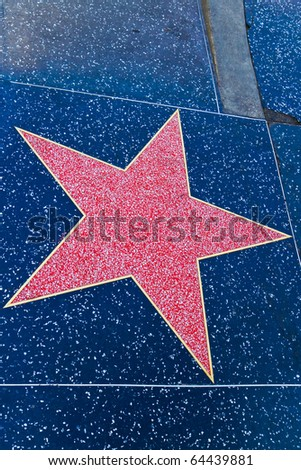 Hollywood star, street of fame