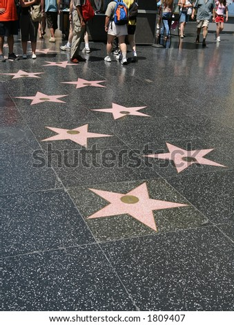 Hollywood stars on the walk of fame in Los Angeles, California