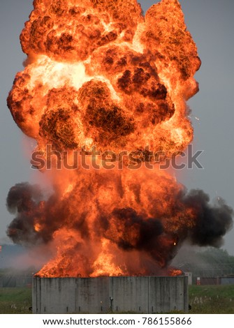 Hollywood style explosion.  Here is a picture of an EOD demolition using fuel to create a fireball. #786155866