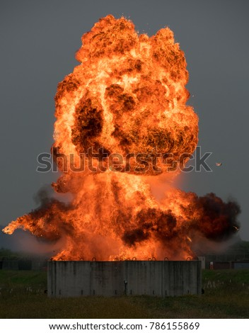 Hollywood style explosion.  Here is a picture of an EOD demolition using fuel to create a fireball. #786155869